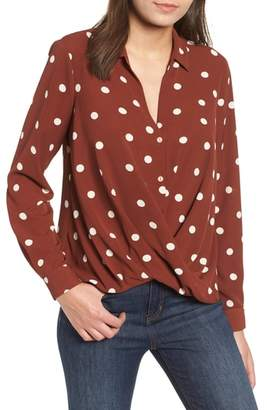 ALL IN FAVOR Patterned Drape Front Blouse