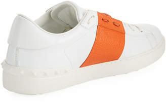 Valentino Men's Wide-Stripe Lace-Up Low-Top Sneakers, Orange