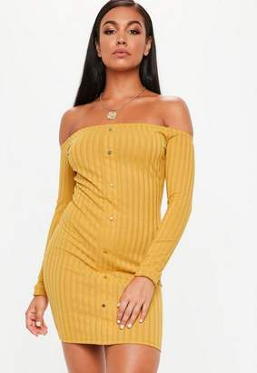 Missguided Mustard Bardot Popper Front Bodycon Dress