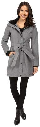 Jessica Simpson Long Softshell w/ Faux Fur Collar and Hood Women's Coat