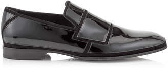 Jimmy Choo SPENCER Black Suede and Patent Loafers