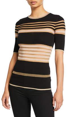 M Missoni Sheer Striped Crewneck Short-Sleeve Tee