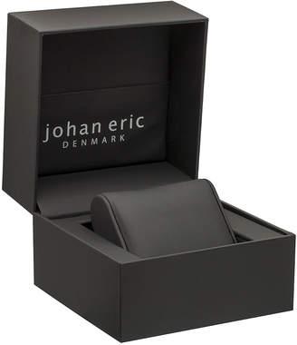 Johan Eric Orstead Quartz Swarovski Crystal Black Satin Covered Leather Strap Watch