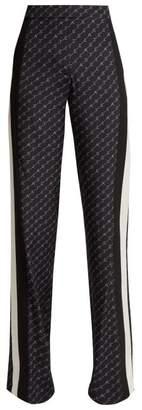 Stella McCartney Side Stripe Logo Print Silk Trousers - Womens - Navy Multi