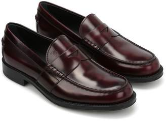 Tod's Semi-glossy Brushed Leather Loafers