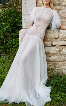 Costarellos Bridal Angel-Sleeve Gown