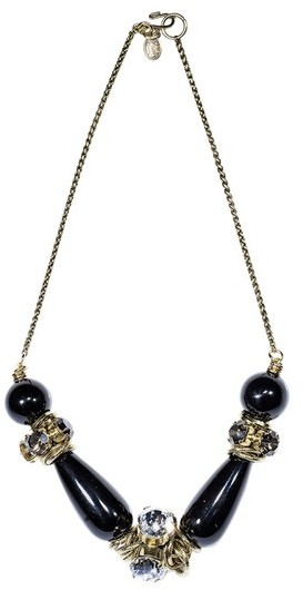 Aris Geldis Necklace with Onyx and Swarovski Crystals