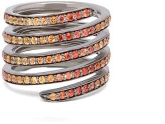LYNN BAN Ombré sapphire & rhodium coil ring