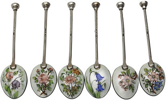 One Kings Lane Vintage Walker & Hall Sterling Enamel Spoons Set of 6 - Rose Victoria