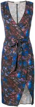 Murmur print wrap shift dress