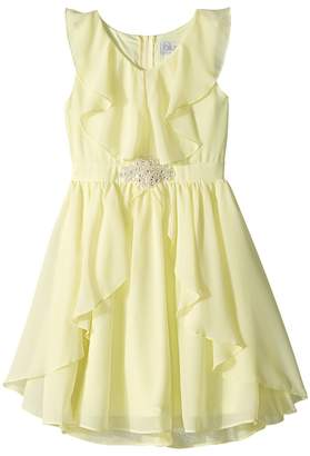 Us Angels Ruffle Front Chiffon Dress w/ Brooch Girl's Dress