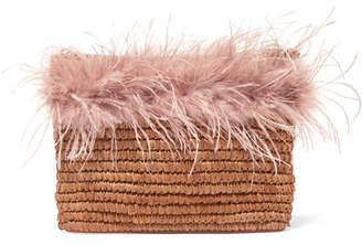 Loeffler Randall Feather-trimmed Straw Pouch - Neutral
