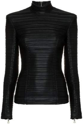 Balmain High-neck ribbed faux leather top