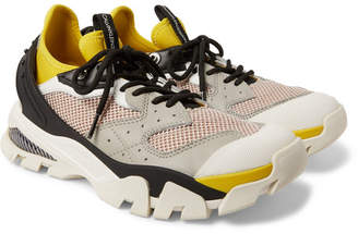 Calvin Klein Mesh, Leather And Rubber-panelled Neoprene Sneakers