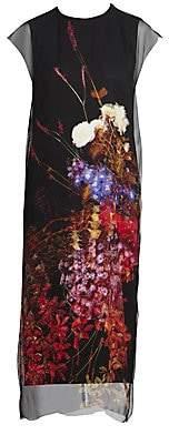 Dries Van Noten Women's Floral Silk Overlay Cap-Sleeve Dress