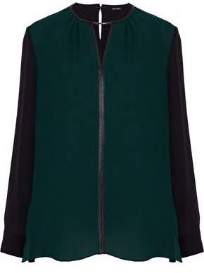 Elie Tahari Ciella Leather-Trimmed Two-Tone Silk Crepe De Chine Blouse