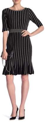 Taylor Vertical Stripe Knit Flounce Hem Knit Dress