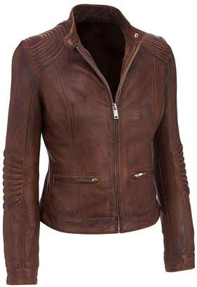 Moto Clark Outfits Women's Cafe Racer Vintage Style Biker Distressed Real Leather Jacket (XXL)