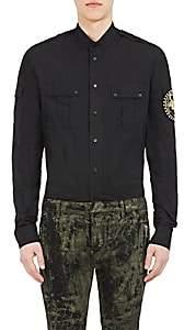 Balmain Men's Appliquéd Cotton Banded-Collar Shirt-Black
