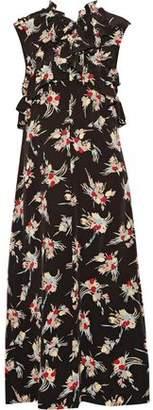 Marni Ruffled Floral-Print Silk Crepe De Chine Midi Dress