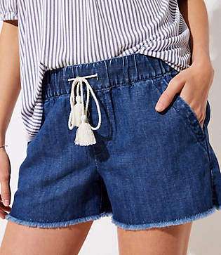 LOFT Cotton Linen Denim Drawstring Shorts in Authentic Dark Wash