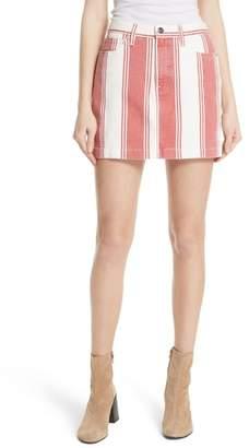 Frame Le Mini Stripe Denim Skirt