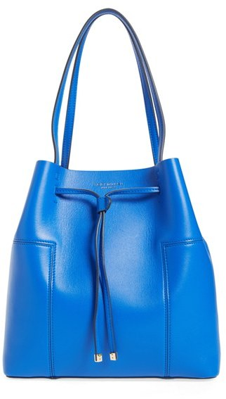 Tory Burch Tory Burch 'Block-T' Leather Drawstring Tote - Blue