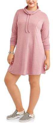 N. Eye Candy Junior's Plus Size Funnel Neck Fit Flare Brushe Hacci Dress