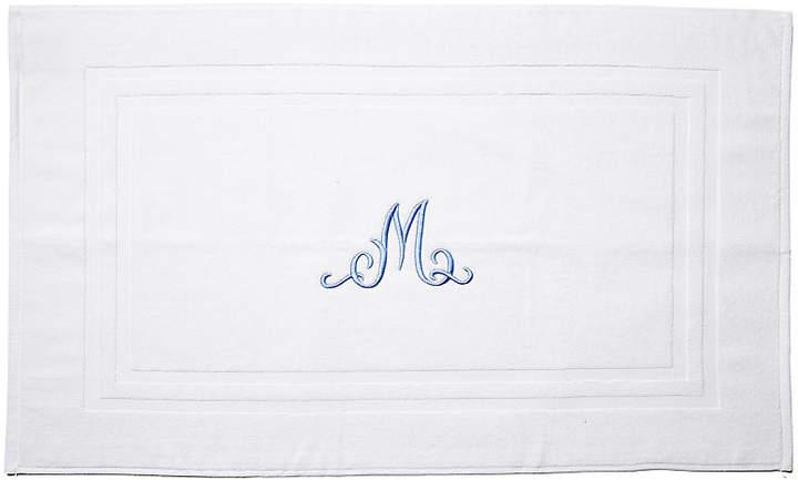 Script Monogram Bath Mat - White/Blue