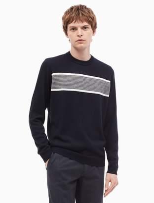 Calvin Klein merino wool blend block stripe crewneck sweater