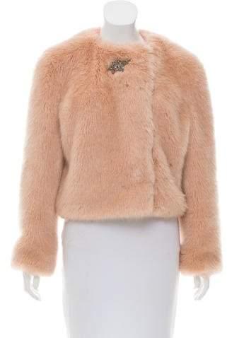 Shrimps Embellished Faux Fur Jacket