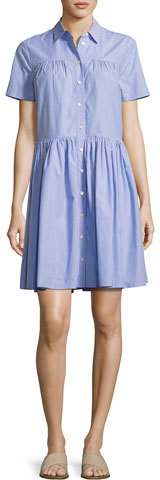 Kate SpadeKate Spade New York Short-Sleeve Striped Poplin Shirtdress, White/Blue