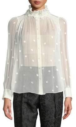 Kate Spade Bakery Dot Long-Sleeve Sheer Devore Blouse w/ Ruffled Turtleneck