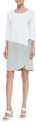 Joan Vass 3/4-Sleeve Colorblock Dress, Petite