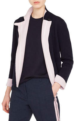 Akris Reversible Cashmere Cardigan w/ Racing Stripe