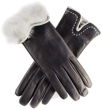 Black and Vanilla Rabbit Fur Lined Leather Gloves