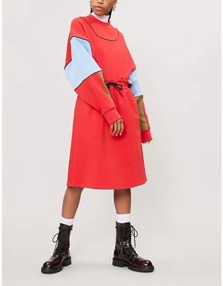 MSGM Colour-blocked cotton-jersey sweatshirt dress
