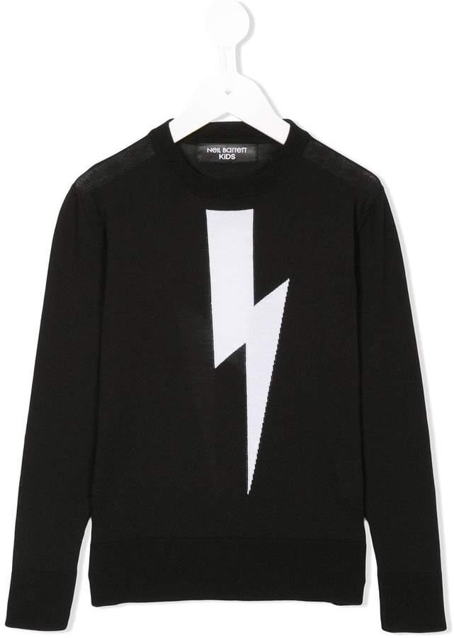 Neil Barrett Kids lightning bolt knit sweater