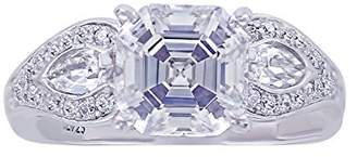 Platinum-Plated Sterling Simulated Diamonds Asscher Cut Pear Side Vintage Ring