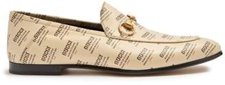 Gucci Brixton Logo Print Leather Loafers - Mens - Beige