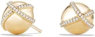 David Yurman 'Solari' Wrap Stud Earrings with Pave Diamonds in 18K Gold