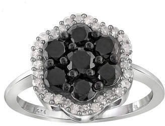 Black Diamond FINE JEWELRY 1 CT. T.W. White & Color-Enhanced Cluster Sterling Silver Ring