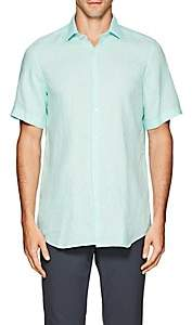 Piattelli MEN'S LINEN SHORT SLEEVE CHAMBRAY SHIRT-TURQUOISE SIZE L