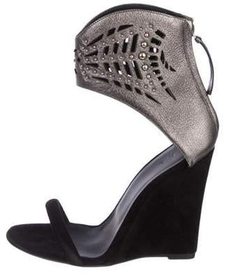 IRO Suede Ankle Strap Wedges Black Suede Ankle Strap Wedges