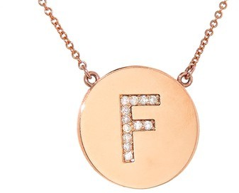 Jennifer Meyer Diamond Letter Necklace - F - Rose Gold