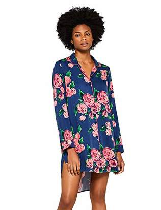Iris & Lilly Women's Long Twill Print Nightshirt, Multicoloured (Floral Print), Large