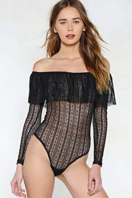 Nasty Gal Keep a Straight Lace Bodysuit