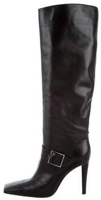 Sergio Rossi Leather Square-Toe Boots