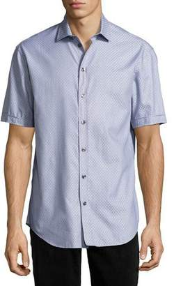 Armani Collezioni Neat Diamond Short-Sleeve Sport Shirt, Blue