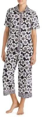 Kate Spade Two-Piece Floral Border Cropped Pajama Set